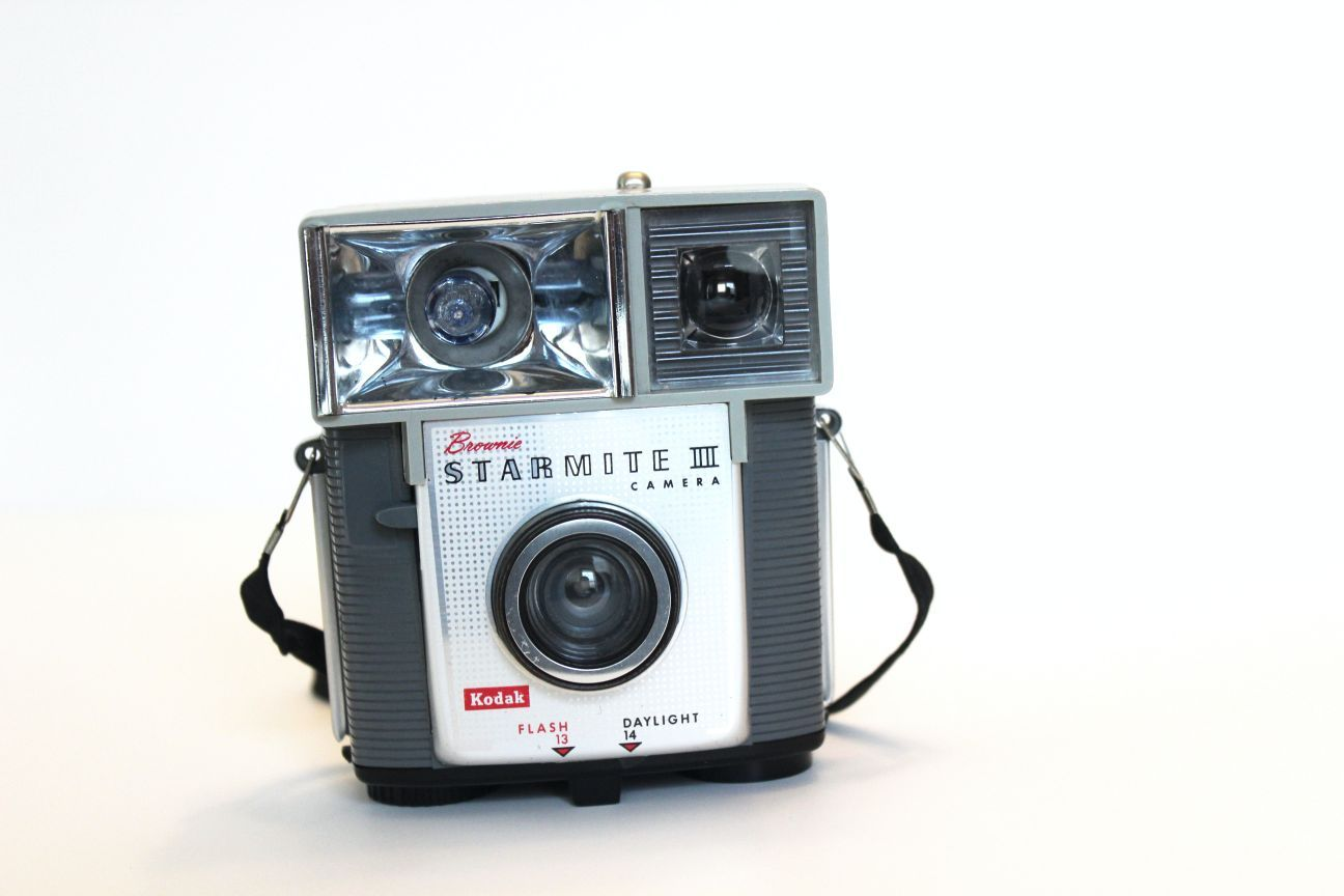 An old camera with flash