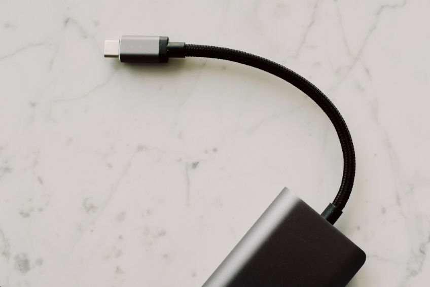 USB-C connected to a powerbank
